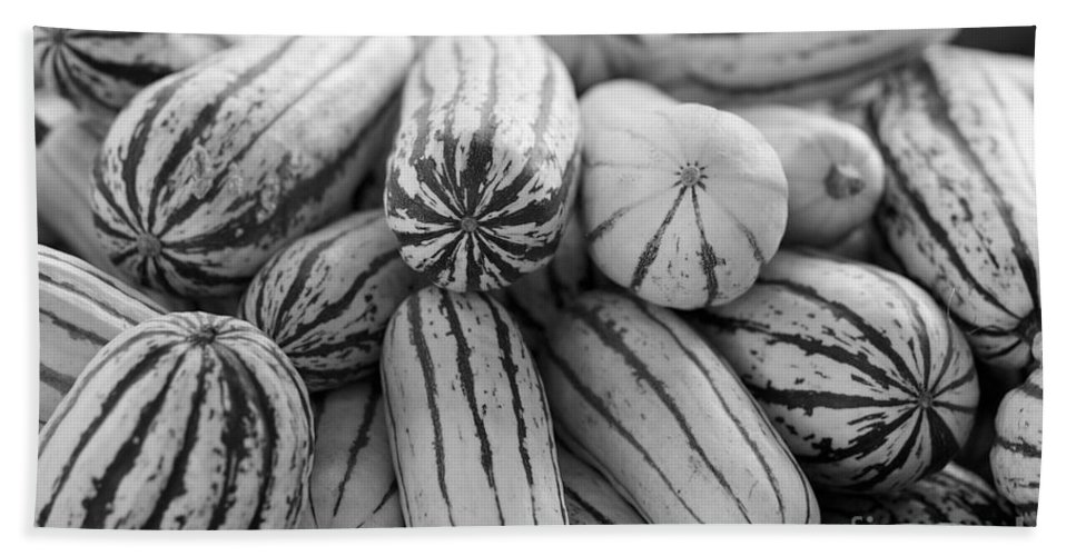 Delicata Bath Sheet featuring the photograph Delicata Winter Squash In Black by Brooke Roby