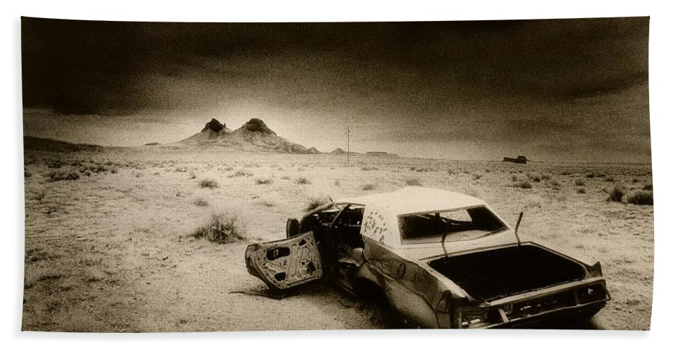 Car; Wreck; Abandoned; Lonely; Ghostly; Bullet Holes Hand Towel featuring the photograph Desert Arizona Usa by Simon Marsden