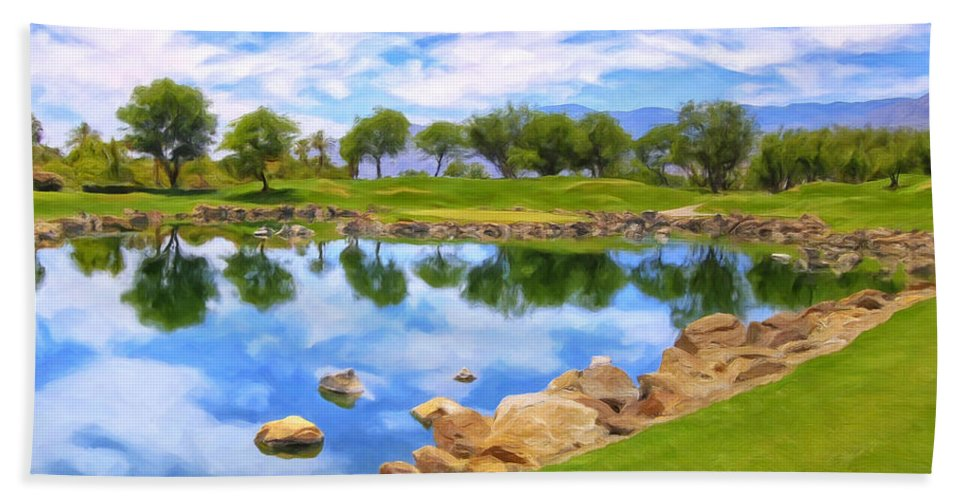 Desert Golf Hand Towel featuring the painting Desert Golf by Dominic Piperata