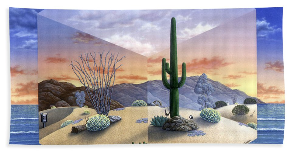 Desert Bath Sheet featuring the painting Desert on My Mind 2 by Snake Jagger