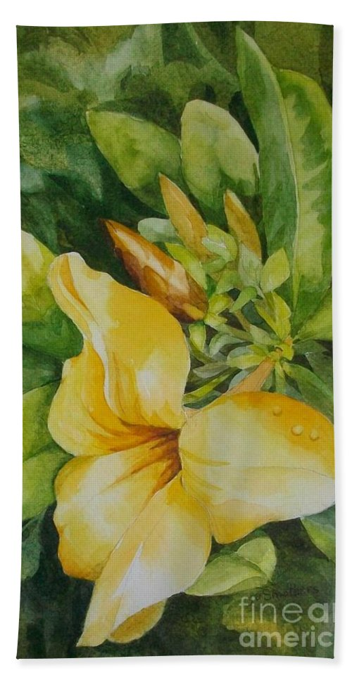 Yellow Flower Bath Sheet featuring the painting Dianne's Flower by Judith A Smothers