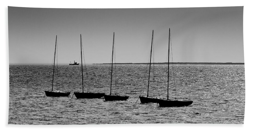 Dinghie Bath Towel featuring the photograph Dinghies Moored Off Of Leigh On Sea Essex by David Pyatt