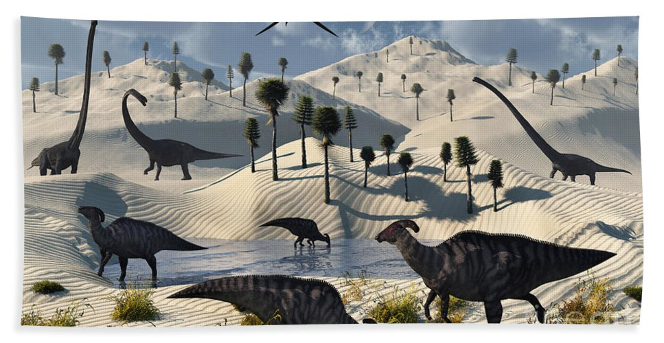Digitally Generated Image Bath Sheet featuring the digital art Dinosaurs Gather At A Life Saving Oasis by Mark Stevenson