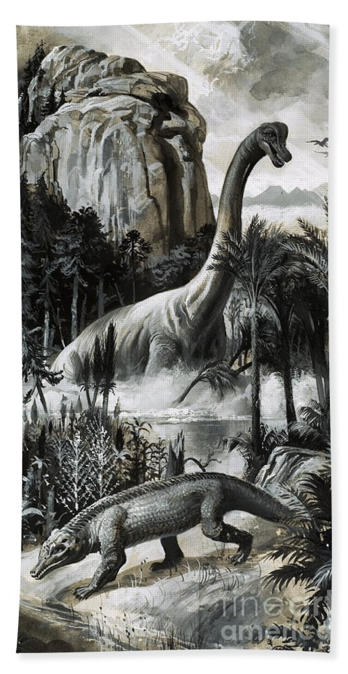 Dinosaurs Hand Towel featuring the painting Dinosaurs by Roger Payne
