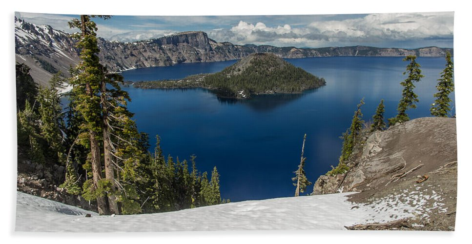 Cascades Hand Towel featuring the photograph Discovery Point And Wizard Island by Greg Nyquist