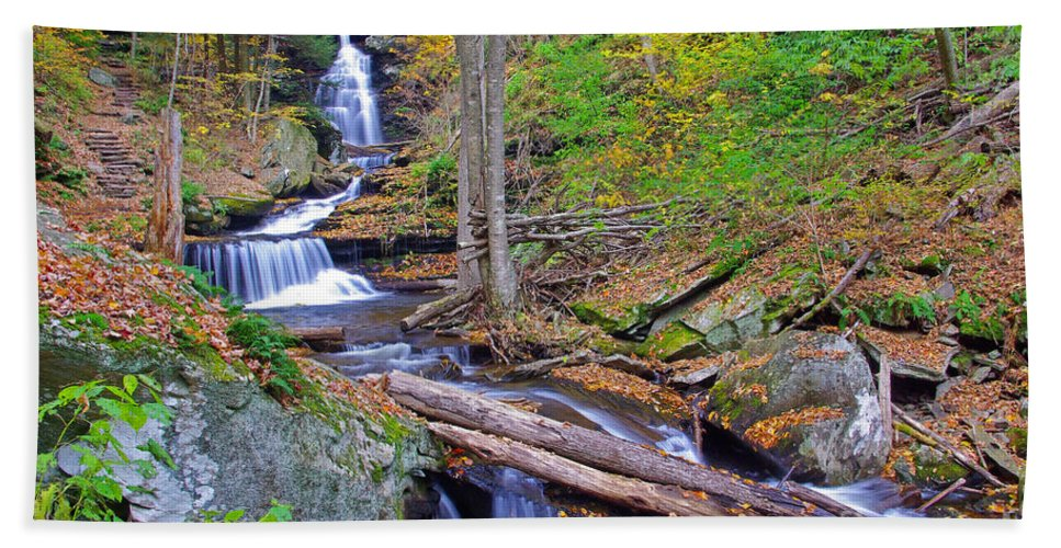 Pennsylvania Bath Sheet featuring the photograph Distant Ozone Falls And Rapids In Autumn by Rich Walter