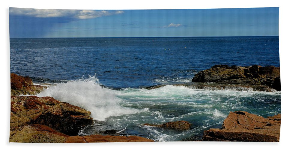acadia National Park Hand Towel featuring the photograph Distant Storm by Paul Mangold
