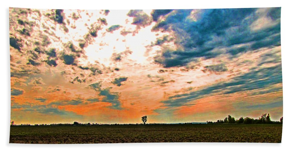 Morning Bath Sheet featuring the photograph Distant Tree by Debbie Portwood