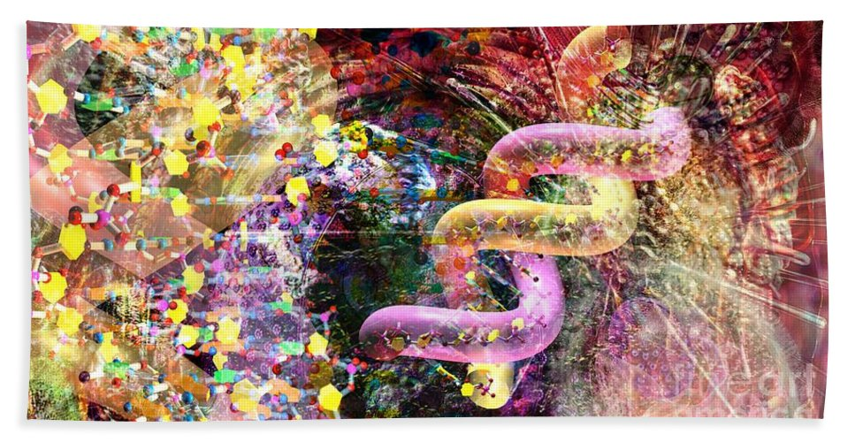 Abstract Bath Sheet featuring the digital art Dna Dreaming 3 by Russell Kightley