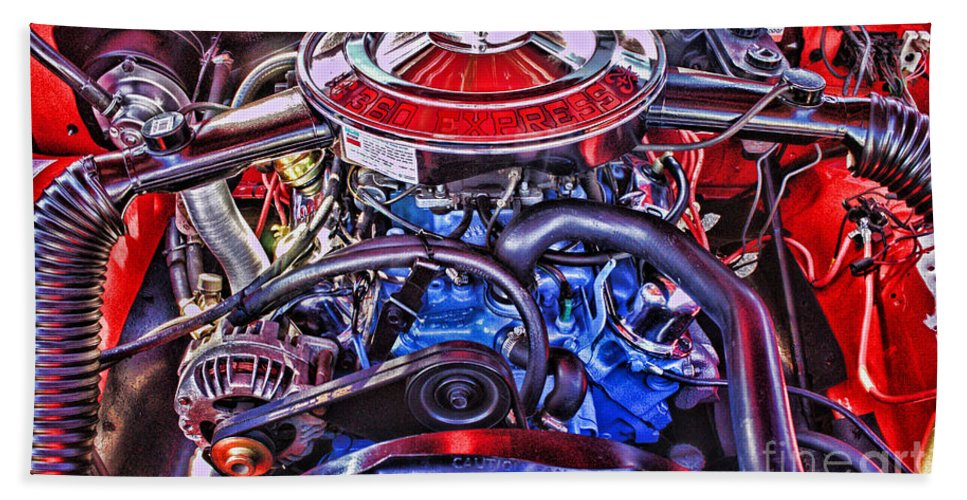 Cars Hand Towel featuring the photograph Dodge Motor Hdr by Randy Harris