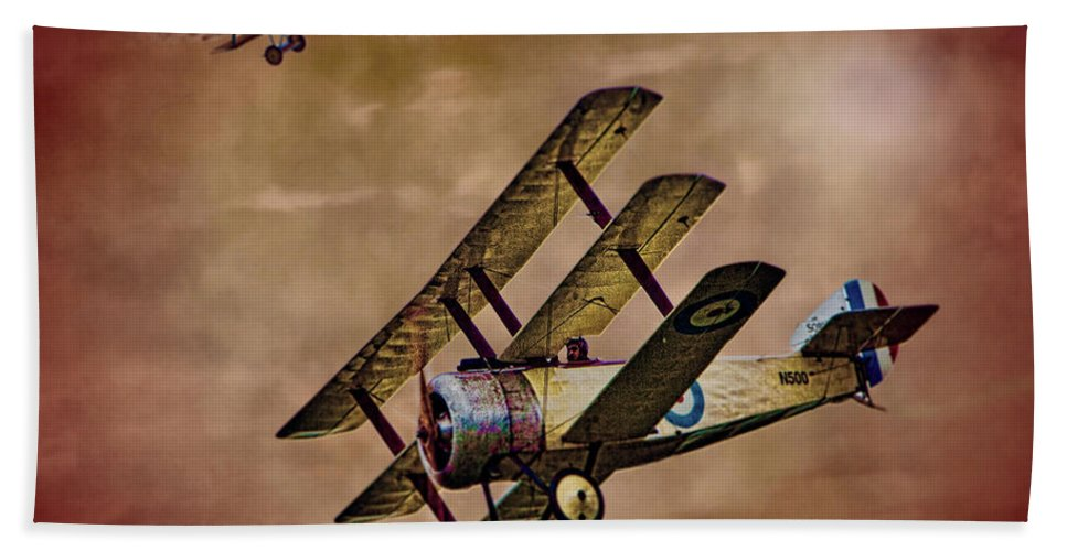 Triplane Hand Towel featuring the photograph Dogfight 1918 by Chris Lord
