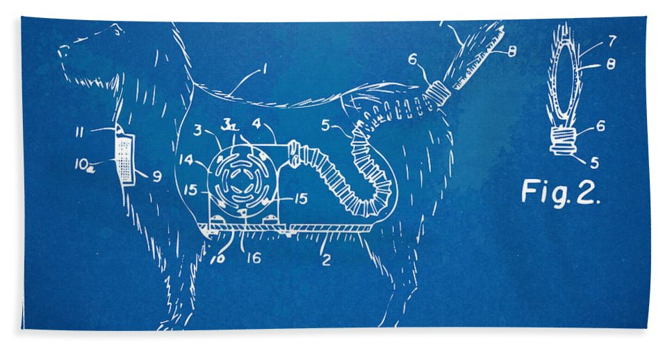 Patent Hand Towel featuring the digital art Doggie Vacuum Patent Artwork by Nikki Marie Smith