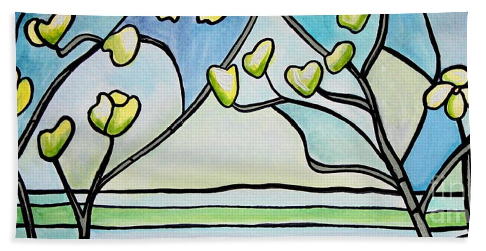 Trees Bath Sheet featuring the painting Dogwood Stained Glass I by Elizabeth Robinette Tyndall