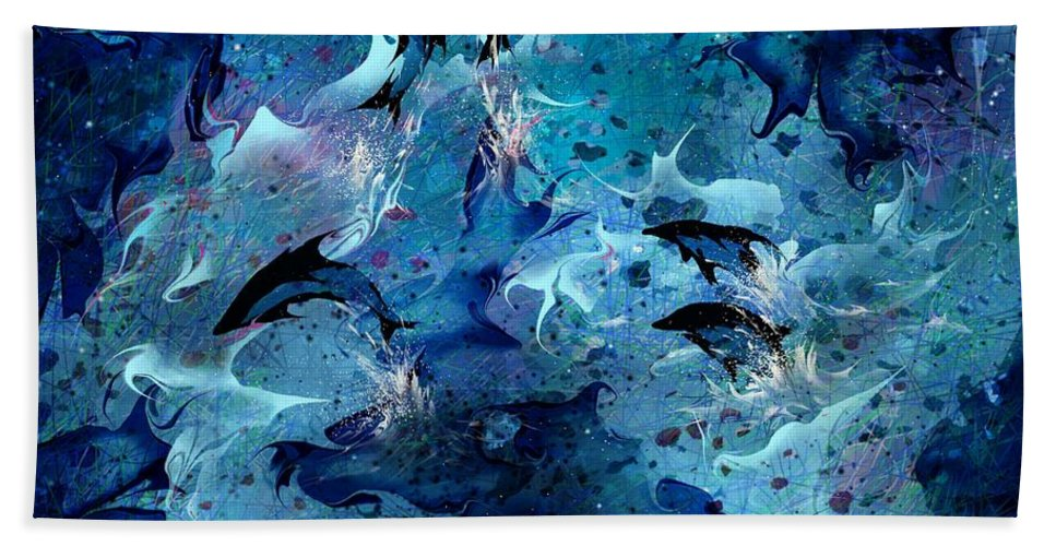 Dolphin Bath Sheet featuring the digital art Dolphin Enchantment by Rachel Christine Nowicki