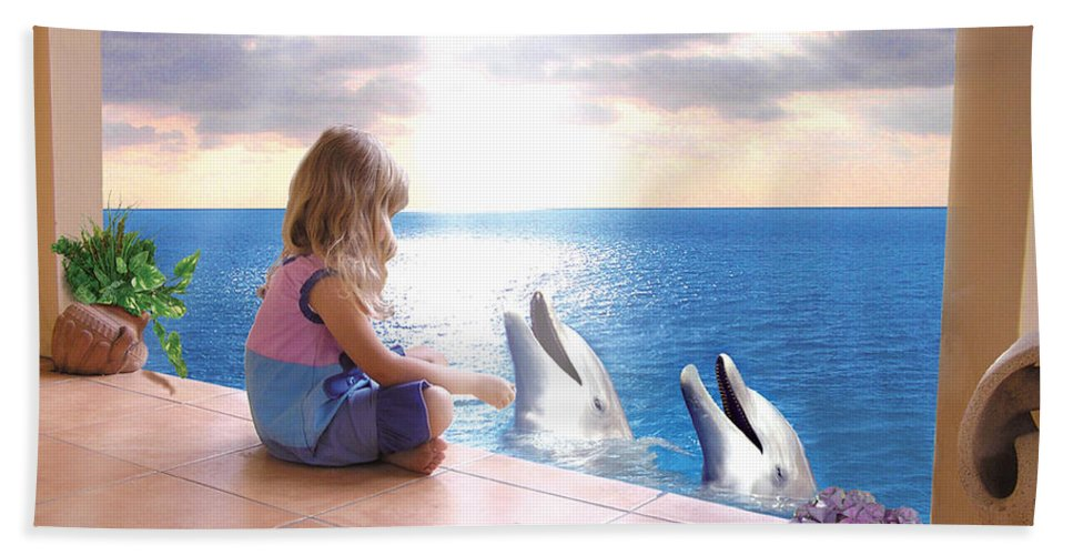Dolphin Hand Towel featuring the photograph Dolphin Family by Bobbie S Richardson