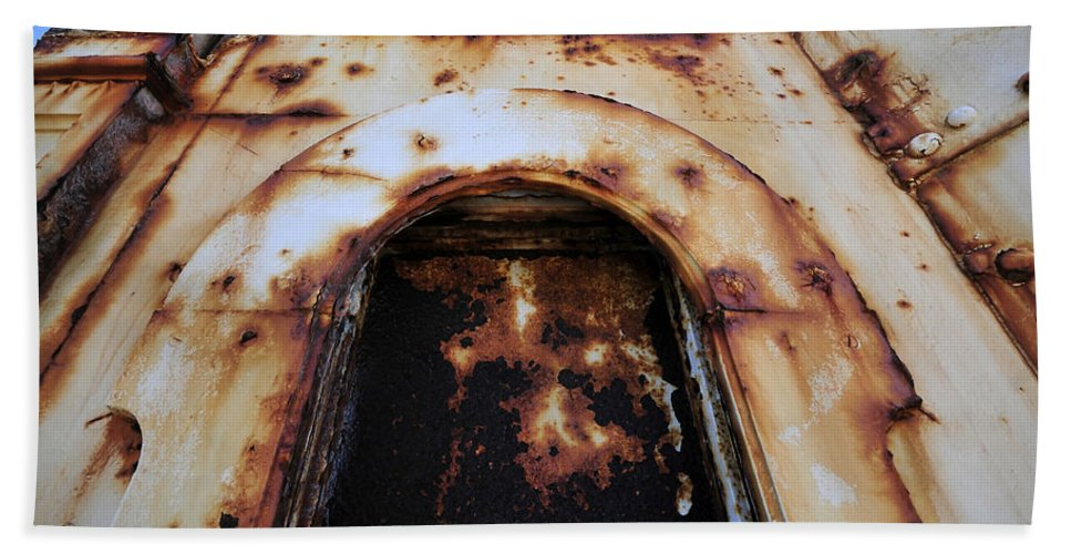 Fine Art Photography Bath Sheet featuring the photograph Door Of Rust by David Lee Thompson