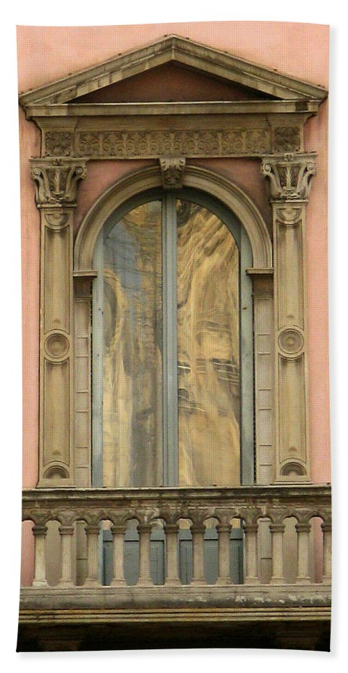 Architecture Bath Sheet featuring the photograph Doors Balcony And Duomo Reflection In Milan Italy by Greg Matchick