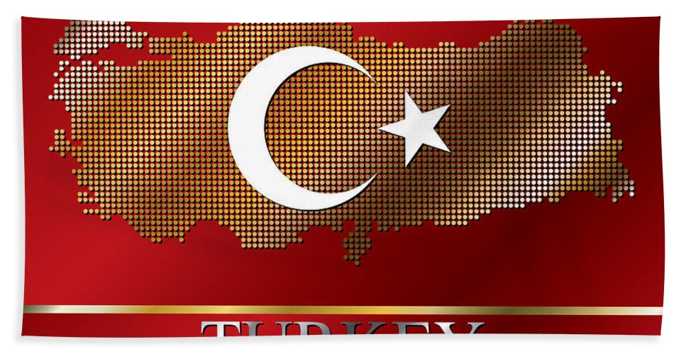 Turkey Bath Sheet featuring the photograph Dotted Turkey Map And Flag by Adem Demir