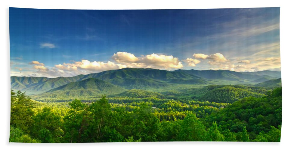 Valley Smoky Mountains Hand Towel featuring the photograph Down In The Valley by Randall Branham