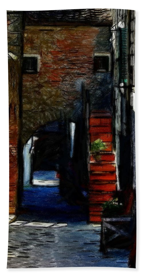 Street Path House Staircase Expressionism Oil Pastel Painting Old Town Bath Sheet featuring the pastel Down The Street by Steve K