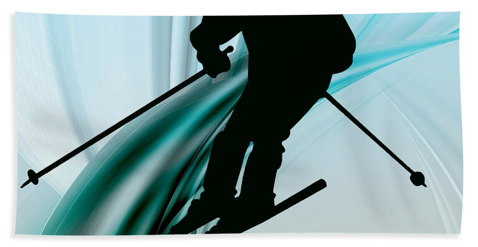 Ski Bath Sheet featuring the painting Downhill Skiing On Icy Ribbons by Elaine Plesser