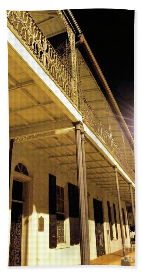 Wrought Iron Bath Sheet featuring the photograph Downtown Balcony Baton Rouge by Lizi Beard-Ward