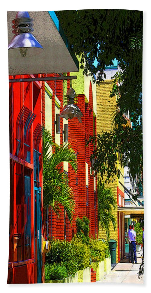 Red Bath Sheet featuring the digital art Downtown Ft Myers by Peggy Starks