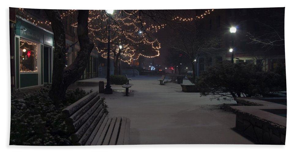Downtown Bath Sheet featuring the photograph Downtown Winter by Glenn Gordon