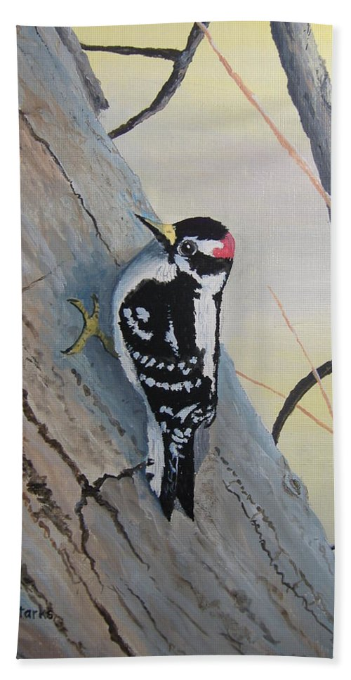 Bird Bath Sheet featuring the painting Downy Woodpecker by Norm Starks