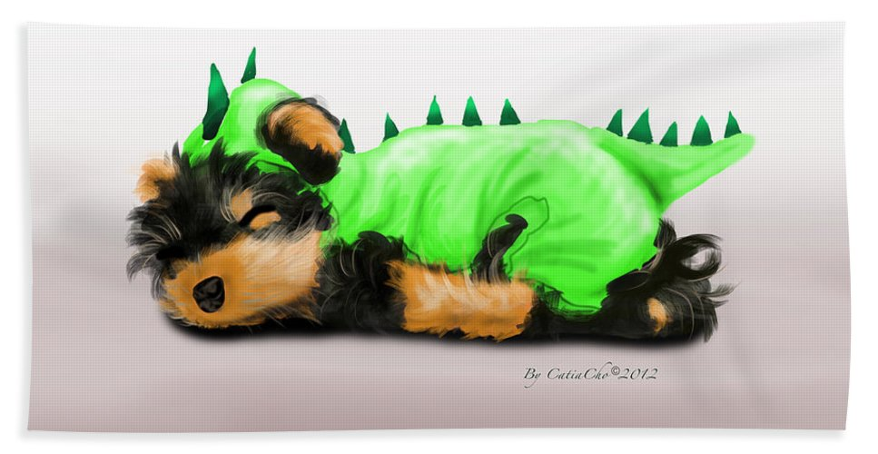 Dragon Bath Sheet featuring the mixed media Dragon Baby Yorkie by Catia Lee