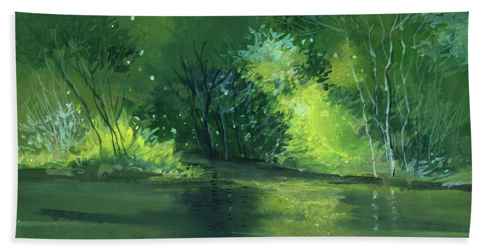 Dream Hand Towel featuring the painting Dream 1 by Anil Nene