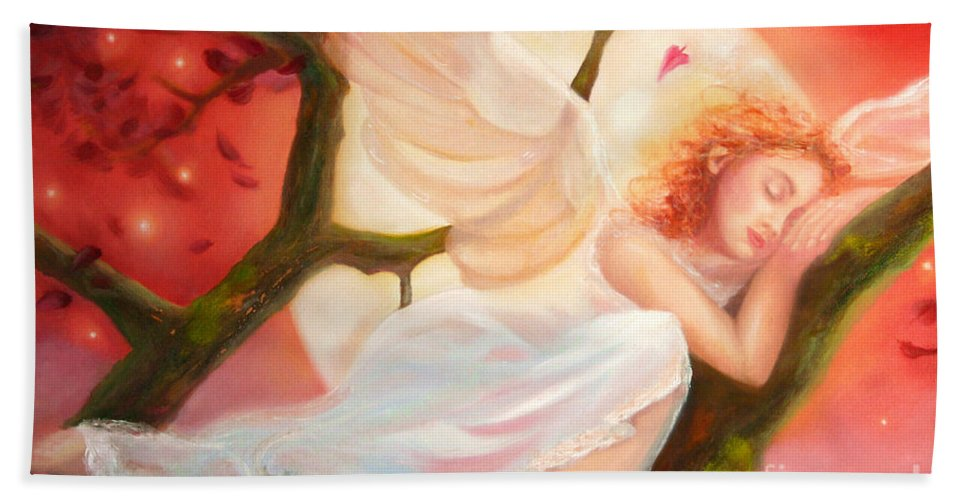 Angel Bath Sheet featuring the painting Dreams Of Strawberry Moon by Michael Rock