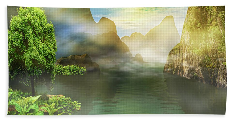 Landscape Bath Sheet featuring the photograph Dreamy Mood by Lourry Legarde