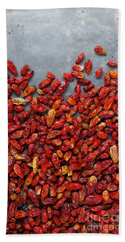 Asian Hand Towel featuring the photograph Dried Chili Peppers by Carlos Caetano