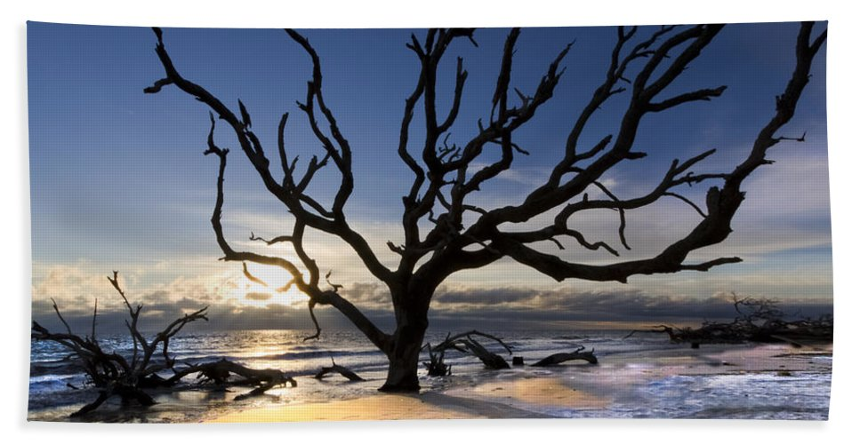 Clouds Hand Towel featuring the photograph Driftwood Beach At Dawn by Debra and Dave Vanderlaan