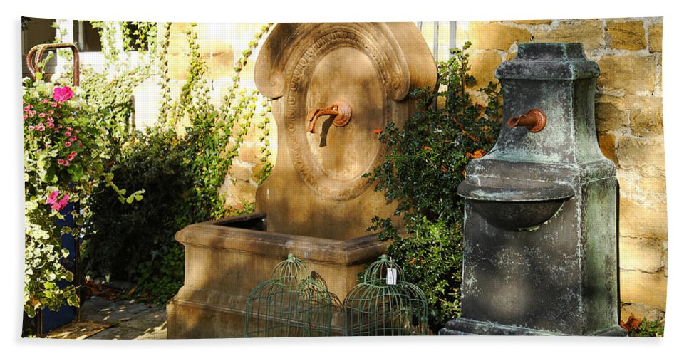 Britain Bath Sheet featuring the photograph Drinking Fountains For Sale - Broadway by Rod Johnson
