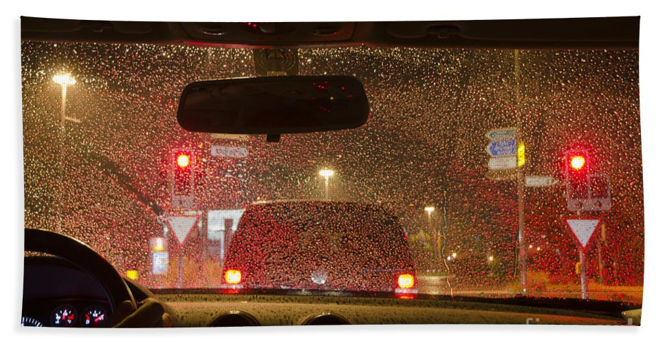 Car Hand Towel featuring the photograph Driving A Car At Night by Mats Silvan
