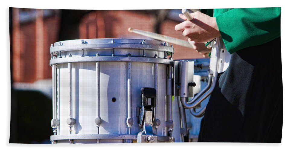 Band Bath Sheet featuring the photograph Drummer Boy by James BO Insogna