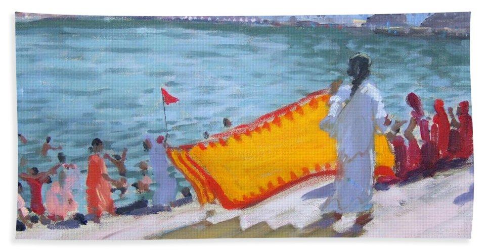 Lake Bath Sheet featuring the painting Drying Sari Pushkar by Andrew Macara