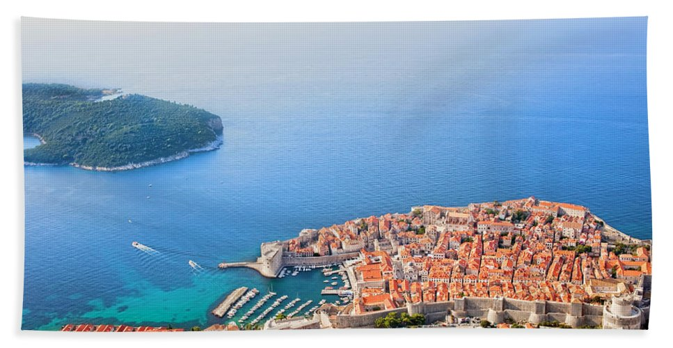Dubrovnik Bath Sheet featuring the photograph Dubrovnik Aerial View by Artur Bogacki
