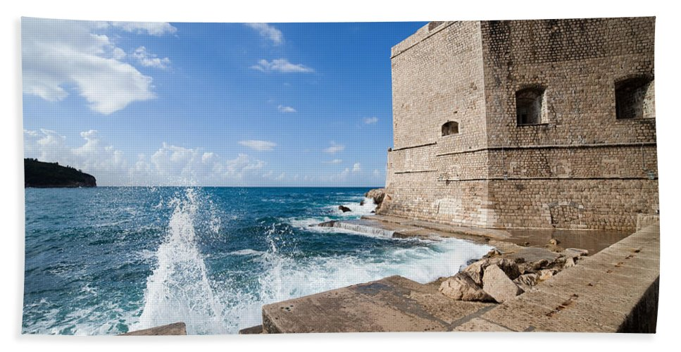 Dubrovnik Bath Sheet featuring the photograph Dubrovnik Fortification And Pier by Artur Bogacki