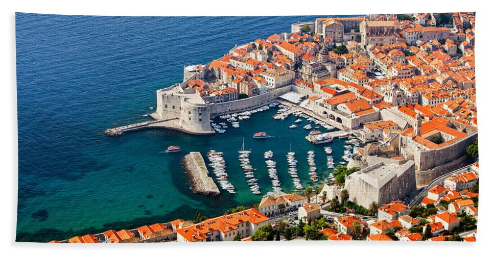 Dubrovnik Bath Sheet featuring the photograph Dubrovnik Old City Aerial View by Artur Bogacki