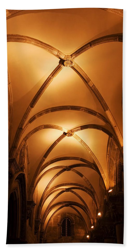 Ceiling Hand Towel featuring the photograph Duke's Palace Arched Ceiling by Artur Bogacki
