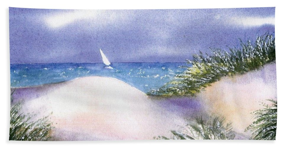 Cape Cod Watercolor Bath Sheet featuring the painting Dune View by Joseph Gallant