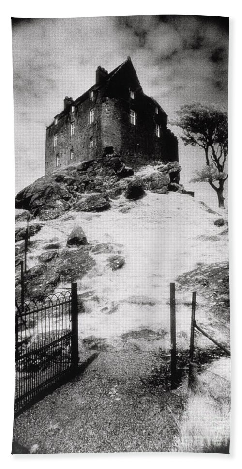 Duntrune; Architecture; Ruin; Ghostly; Eerie; Bleak; Hill; Haunted House Hand Towel featuring the photograph Duntroon Castle by Simon Marsden
