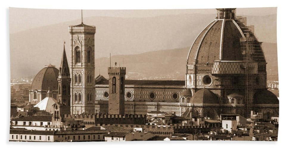 Sepia Bath Sheet featuring the photograph Duomo With Scaffolding by Donna Corless