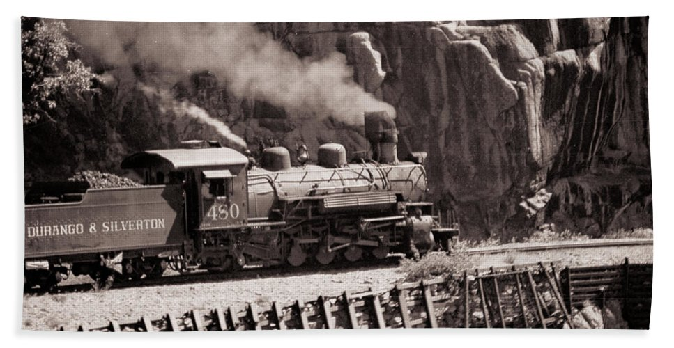Train Hand Towel featuring the photograph Durango And Silverton Steam Train by Darleen Stry