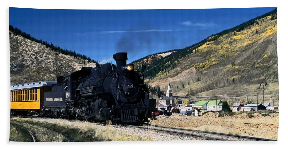 Durango & Silverton Train Leaving Silverton Hand Towel featuring the photograph Durango And Silverton Train by Sally Weigand
