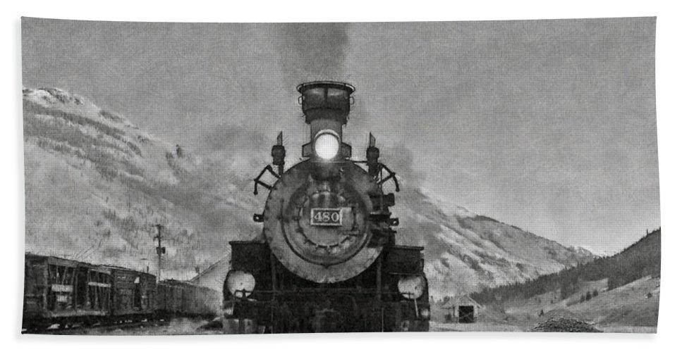 Durango Bath Sheet featuring the digital art Durango Silverton Bw Painterly 3 by Ernie Echols