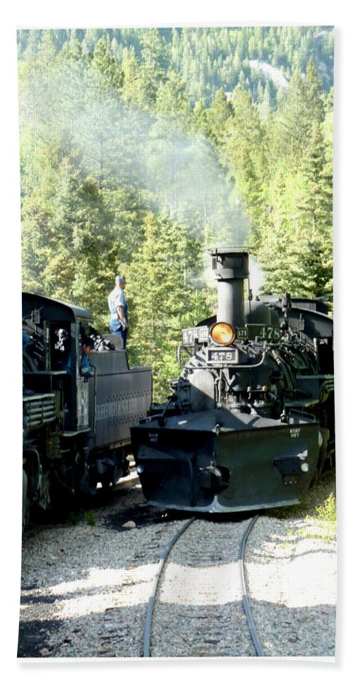 # 478 Steam Engine Of The Durango-silverton Vintage Railway Bath Sheet featuring the photograph Durango Silverton Steam Locomotive by Jack Pumphrey